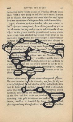 Book page poetry/Visual poetry. ..for when you are repurposing an old book into your visual journal.