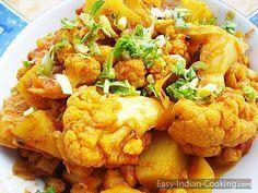 Indisches Rezept Kartoffel-Blumenkohl-Curry, Aloo Gobi vegetarisches Gericht Schritt für Schritt mit Bilder schnell & einfach zuhause wie in Indien kochen