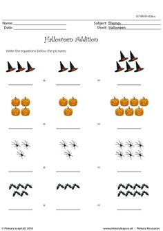 1000+ images about ♥♥ kids math worksheets♥♥ on Pinterest ...Halloween Addition Worksheets #2