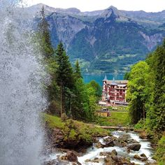 Giessbachfälle, Brienz, Switzerland — by Brian Beard. This is the view from behind Giesbachfälle!