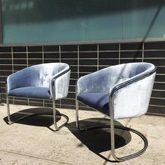 We've gone blue -  Pair of 1970s Thonet chrome cantilever chairs #bluesteel