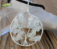 Quartz Tree of Life Necklace - Tree of Life Jewelry - Silver Plated Copper - Made to Order. Wire Wrapped Jewelry, Wire Jewelry, Jewlery, Silver Jewelry, Unique Jewelry, Tree Of Life Jewelry, Tree Of Life Necklace, Wire Trees, Craft Projects