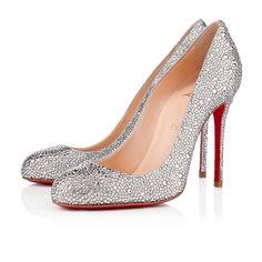 LOUBOUTIN   FIFI STRASS SUEDE BURMA 100 mm, Strass, CRYSTAL, Women Shoes. www.manumendoza.com