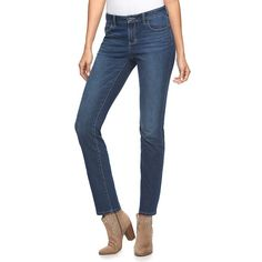 Women's Jennifer Lopez Straight-Leg Jeans, Size: 10 Short, Dark Blue