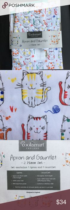 Cats apron and gauntlet 🐈🐈🐈 Colorful 100% Cotton Apron- and matching oven mitt.  Apron has a pocket and greenish trim. Both are Covered with adorable kitty cats 🐱🐱🐱🐱Perfect gift for any cook, chef, or cat lover !!! 💕💕💕 Cooksmart Accessories