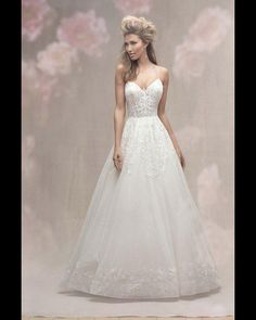 6d6d16683a0b V-neck Spaghetti Strap Lace Detailed Ball Gown Wedding Dress by Allure  Bridals - Image 1