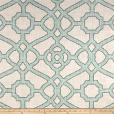 P Kaufmann Pavilion Fretwork Tropical Blue from @fabricdotcom  Screen printed on 2 way slub duck cloth (slub cloth has a linen appearance), this versatile medium/heavyweight cotton fabric is perfect for window accents (draperies, valances, curtains and swags), accent pillows, bed skirts, slipcovers , upholstery and other home decor accents. Create handbags, tote bags, aprons and more. Colors include grey, aqua and bone.