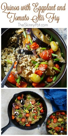 Quinoa with Eggplant and Tomato Stir Fry