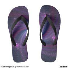 rainbow spirals flip flops