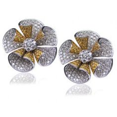 Floral Design Round Cut Diamond and Yellow Sapphire EarRing S set in 18KT White Gold 8.00ct   D507ES1VA8W-IALJD
