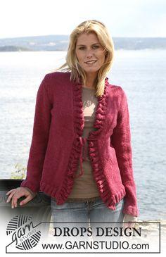 """DROPS jacket with wavy borders in 2 threads """"Alpaca"""". Size S - XXXL."""