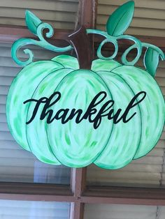 Excited to share the latest addition to my shop: Green pumpkin welcome sign. Pumpkin Snowmen, Pumpkin Crafts, Fall Crafts, Diy Crafts, Wooden Pumpkins, Painted Pumpkins, Fall Pumpkins, Painted Plates, Painted Wood