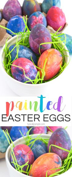 A fun craft alternative to using dye, grab some paint supplies to make these bright and colorful Easter eggs with the kids!