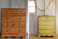"""From the blog """"508,"""" a Before and After. I normally like wood a lot, but in this case, I prefer the painted one."""