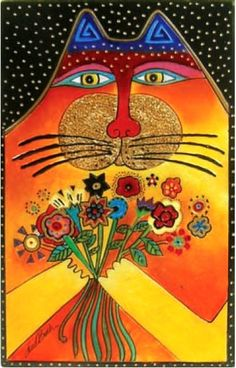 cat with bouquet- laurel burch