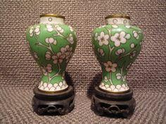Vintage Pair Green Cloisonne Mini Ginger Jar Urns by TroveMagpie
