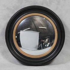 Large Round Black Convex Mirror 74 x 74 x 5 cm