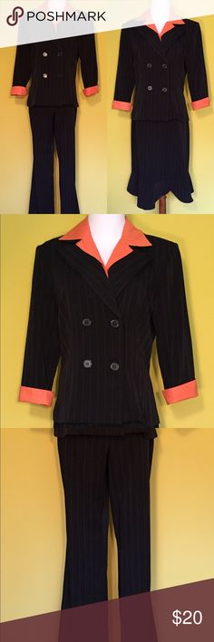 Alyn Paige brand 3 piece suit size 9/10 Alyn Paige brand 3 piece suit. Suit includes a long sleeve jacket with an orange pin stripe design, orange faux removable collared shirt, pants, and a skirt. The jacket, pants and skirt have orange trim.  Our new and gently used items are inspected to ensure good condition prior to posting for sale. We do not sell items that are damaged, stained, or have other defects. Our items are stored in a pet free and smoke free environment. Gently used items are…