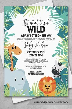Jungle Baby Shower Invitation for Tropical Baby Boy Shower with Safari Animals Juegos Baby Shower Niño, Baby Shower Invitaciones, Boy Baby Shower Themes, Baby Shower Invitations For Boys, Jungle Theme Baby Shower, Babyshower Themes For Boys, Baby Boy Themes, Baby Shower Boys, Babyshower Invites