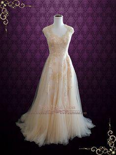 Blush Boho Lace Wedding Dress with Illusion Back Boho Bridal Gowns, Wedding Gowns, Blush Lace Wedding Dress, Irish Wedding Dresses, Looks Cool, Wedding Attire, Beautiful Gowns, Dream Dress, Pretty Dresses