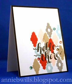 "Ikat Hello Card made using the ""Eye Catching Ikat"" and ""Hello There"" stamp sets from Stampin' Up"