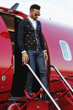 Lewis Hamilton wearing Gucci Wool Cardigan with Bees and Stars