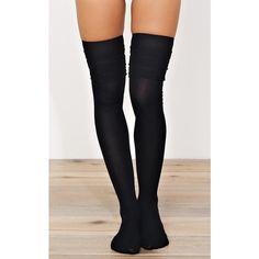 Black Kristen Knee High Socks ($7.99) ❤ liked on Polyvore featuring intimates, hosiery, socks, black, knee socks, knee hi socks and knee-high socks