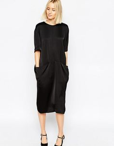 cheap for discount bd9d1 22ae2 ASOS WHITE Satin Midi Dress with Pocket Detail at asos.com