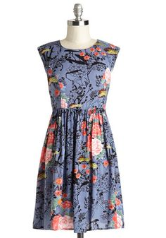 Garden Marvels Dress in Blue - Multi, Floral, Casual, A-line, Cap Sleeves, Woven, Good, Scoop, Mid-length, Top Rated