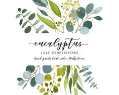 Eucalyptus wedding clip art by AnnelyBlooms on Watercolor Leaf, Watercolor And Ink, Watercolor Flowers, Pencil Illustration, Watercolor Illustration, Graphic Illustration, Eucalyptus Wedding, Creative Sketches, Business Card Logo
