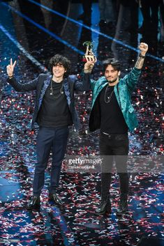 Ermal Meta and Fabrizio Moro, winners of the 68th Italian Music Festival in Sanremo, pose with the award at the Ariston theatre duringthe closing night of the 68. Sanremo Music Festival on February 10, 2018 in Sanremo, Italy.
