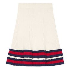 Gucci Knit Wool Skirt (51,770 INR) ❤ liked on Polyvore featuring skirts, ready to wear, women, high-waisted skirts, white pleated skirt, gucci, gucci skirt and a-line skirt