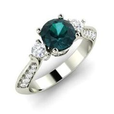 Engagement Rings - Quinn - Blue Diamond Engagement Ring in 14k White Gold with SI Diamond (1.21 ct.tw.)
