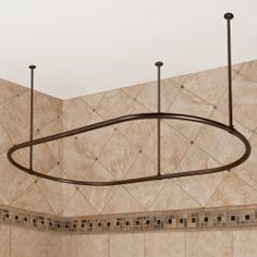 Oval Solid Brass Shower Curtain Rod