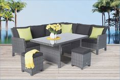 Rattan dining table garden furniture #dining #furniture #garden #rattan #table Rattan Garden Furniture, Table Furniture, Outdoor Furniture Sets, Furniture Design, Outdoor Decor, Table And Chairs, Dining Table, Garden Table, Decorating Your Home
