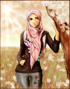 A Malaysian Muslim girl note : this is not the right way of wearing hijab. It just one of my styles in drawing female human figure. Muslim Girls, Muslim Couples, Muslim Images, Hijab Drawing, Manga Drawing, Love Is Cartoon, Arabian Women, Black And White Face, Anime Muslim