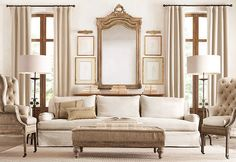 """A bit much but again, I love neutrals. This is the new """"deconstructed"""" look from Restoration Hardware. Looks like some of my old battered shabby chic furniture that I have away to my niece. Formal Living Rooms, Living Room Sofa, Living Room Decor, Brown Room Decor, Restoration Hardware Living Room, Beautiful Living Rooms, Beautiful Space, Shabby, Decoration"""