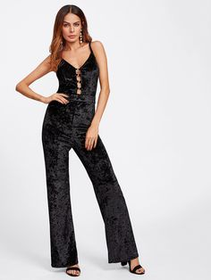 #SheIn - #SheIn O-Ring Laddering Front Crushed Velvet Cami Jumpsuit - AdoreWe.com