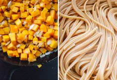 cooked butternut and fettuccine. A new take on a nice and easy spaghetti dinner. Vegetarian, vegan.