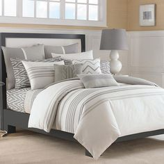 Refresh your master suite or guest room with this lovely cotton duvet cover set, showcasing gray stripes.   Product:  1 Duvet c...