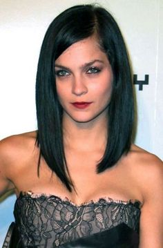 Long Inverted Bob Hairstyles with Side Bangs for Straight Thin Hair in Natural Black Color