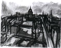 Charcoal Drawing Ideas David Bomberg: Evening in the City of London Landscape Drawings, Abstract Drawings, Amazing Drawings, Easy Drawings, David Bomberg, Digital Story, Building Drawing, Drawing Exercises, Spencer