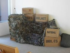 boot camp vacation bible school We can do this, boxes, netting Camouflage Party, Camo Party, Nerf Party, Army Birthday Parties, Army's Birthday, Birthday Balloons, Birthday Ideas, Vbs Themes, Party Themes