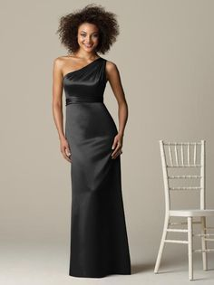 After Six Bridesmaid Style 6587  Full length one shoulder matte satin dress with pleated empire waistband.