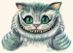 "Cheshire cat!  FROM: ""ALICE IN WONDERLAND"", WRITTEN BY CHARLES LUTWIDGE DODGSON  ENGLISH MATHEMATICIAN--PSEUDONYM  FOR ""LEWIS CARROLL"" 1865"