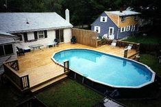 above ground pools decks idea bing images there are some very cool ones in here wonder if there is a low budget version - Above Ground Pool Deck Off House