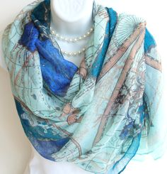 England brazil world cup 2014 map and flag print scarf summer scarf world map scarf blue long by happyideology on etsy gumiabroncs Images