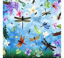 Photographic Print for home or office decor with 'There Be Dragons' whimsical dragonfly art by Nola Lee Kelsey