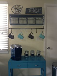 Coffee Bar :) The table is target. I think the shelf is hobby lobby. I might like a different shelf.