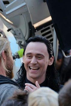 Tom Hiddleston and Chris Hemsworth on the set of 'Thor: Ragnarok' in Brisbane…